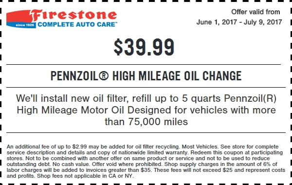Firestone High Mileage Oil Change Coupon