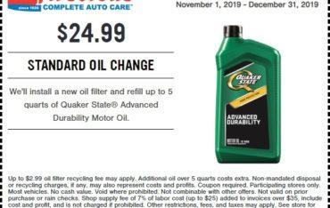Firestone Standard Oil Change Coupon