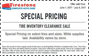 Firestone Tire Inventory Clearance Sale Coupon
