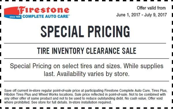 Ntb Oil Change Coupon >> Firestone Tire Inventory Clearance Sale Coupon – A Coupon Addicted – Save a ton of money with ...