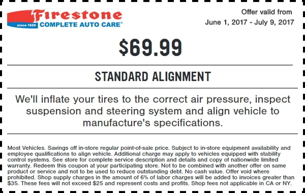 Ntb Oil Change Coupon >> $69.99 Firestone Wheel Alignment Coupon